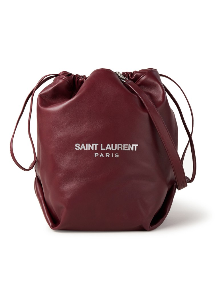 Saint Laurent - Teddy Bucket schoudertas van lamsleer - Bordeauxrood