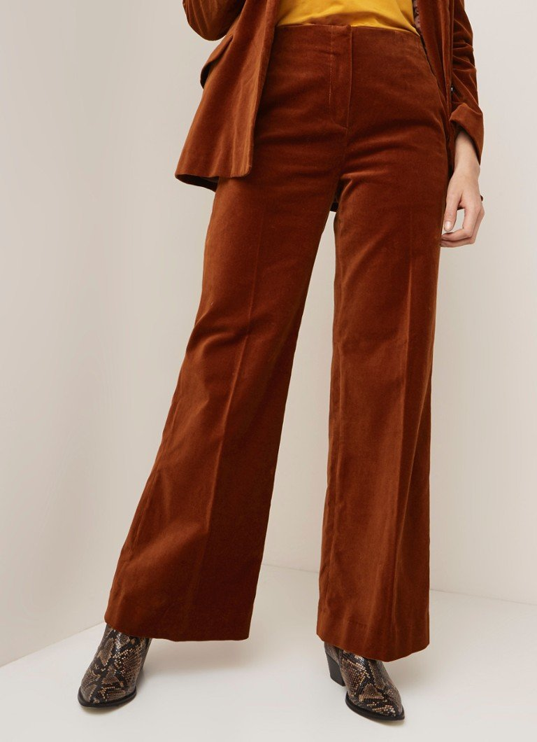 Samsøe & Samsøe - Caren high rise wide fit pantalon van velours - Cognac