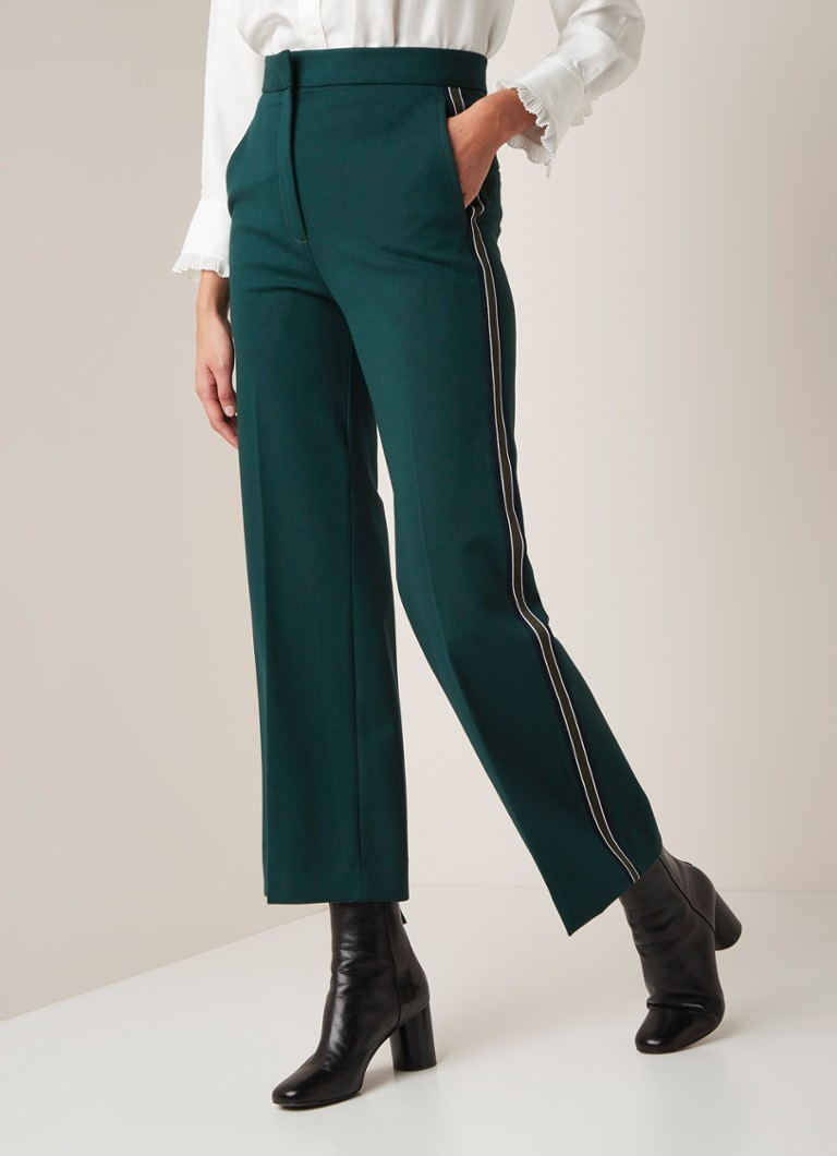 Sandro - High rise straight fit pantalon met contrastbies - Donkergroen