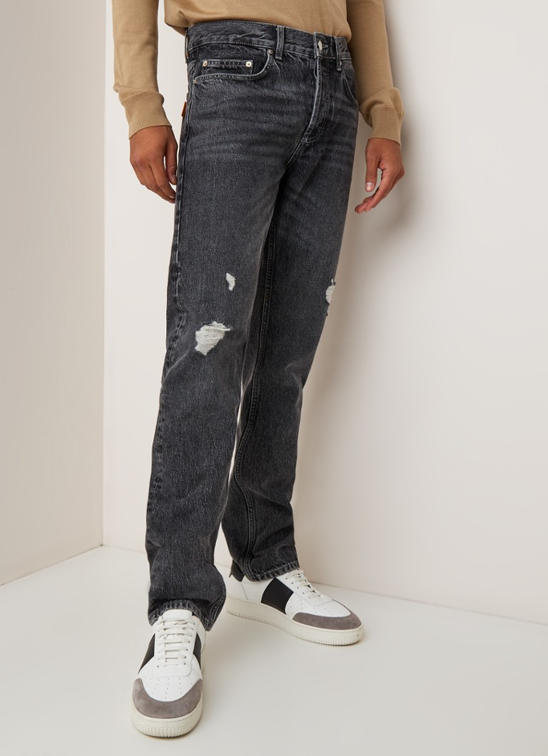 Sandro - Staright fit jeans met ripped details - Antraciet