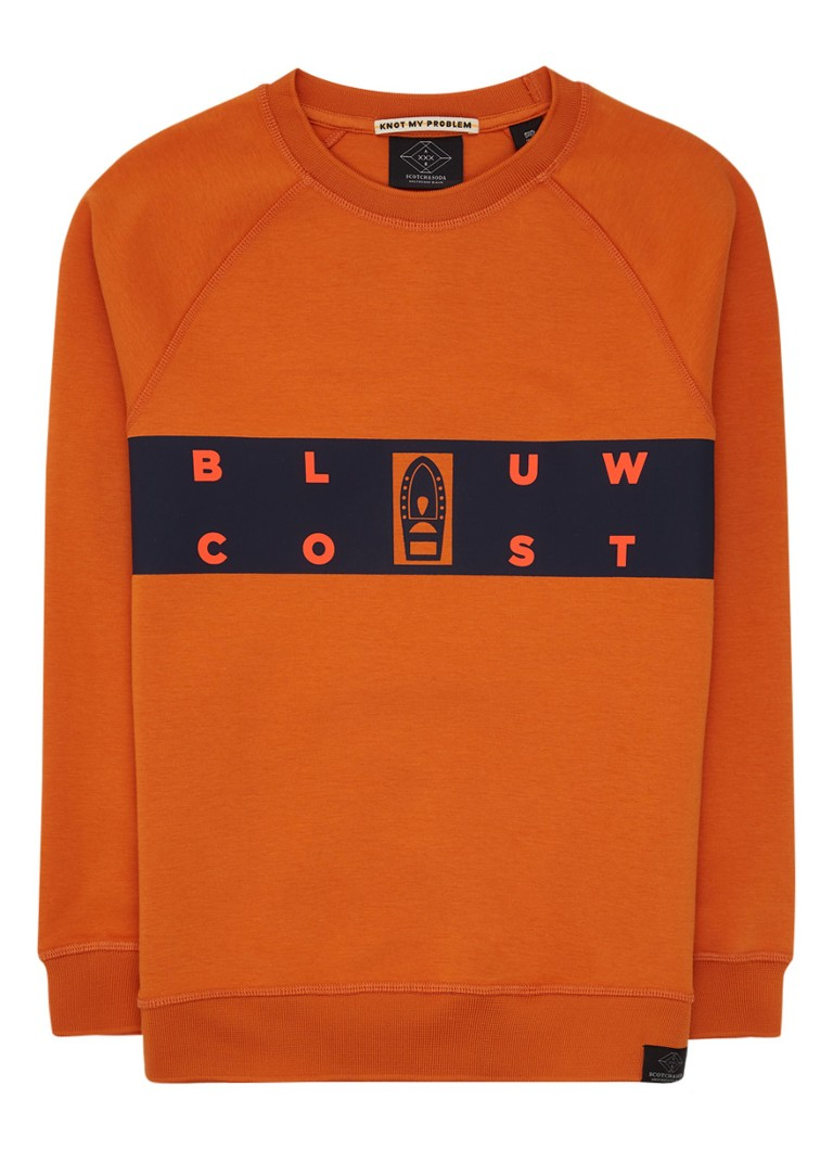 Scotch Shrunk - Coast sweater met tekstopdruk - Oranje