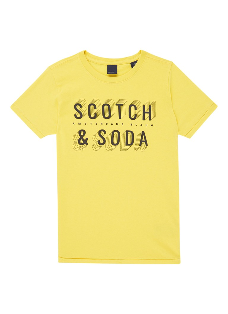 Scotch Shrunk - T-shirt met logoprint - Geel