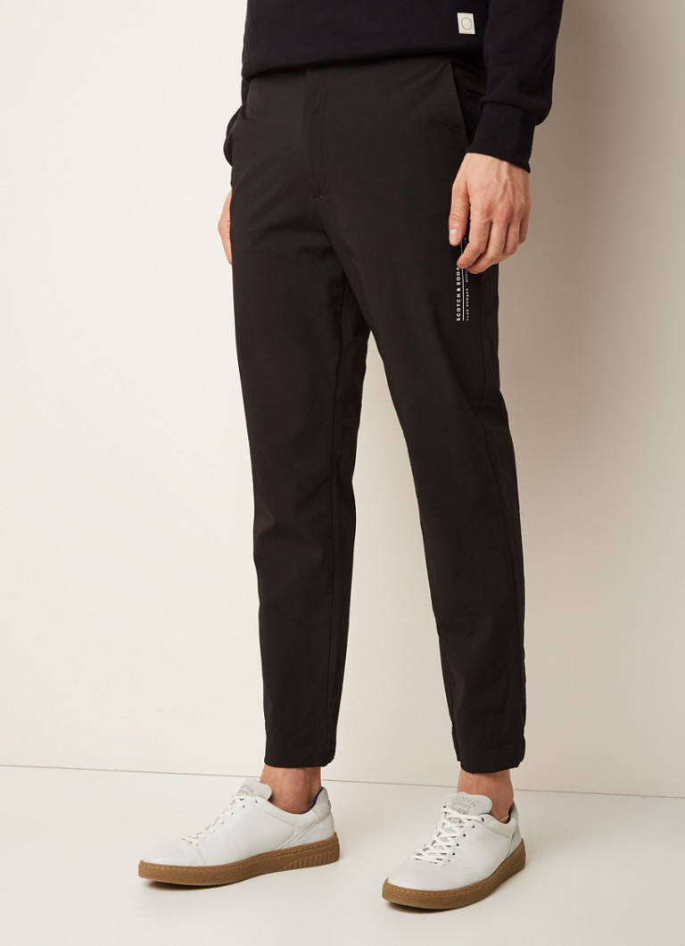 Scotch & Soda - Club Nomade track pants met logoprint - Zwart