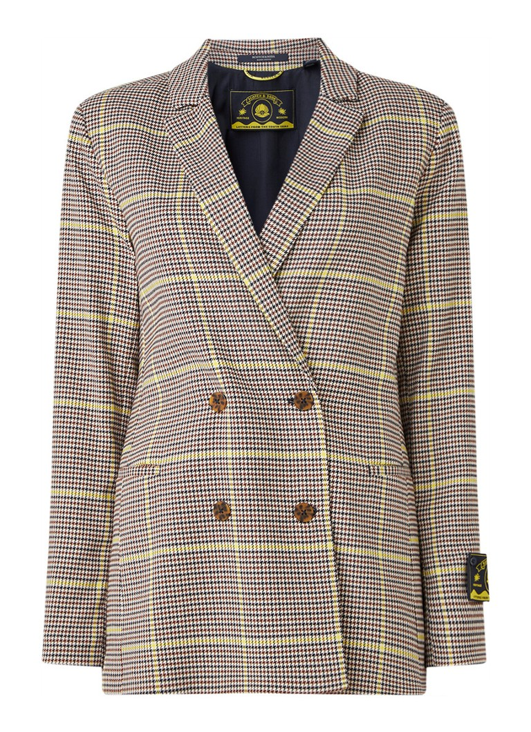 Scotch & Soda - Double Breasted blazer met ruitdessin - Bruin