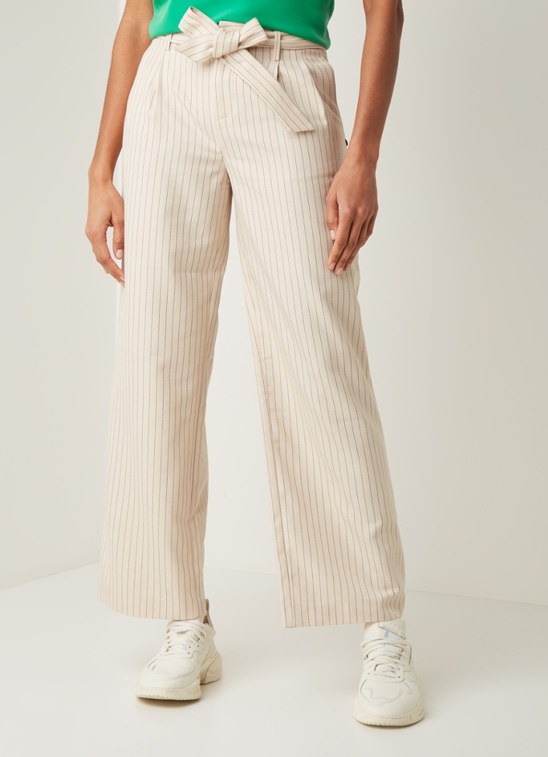 Scotch & Soda - High waist wide fit pantalon met streepprint - Beige