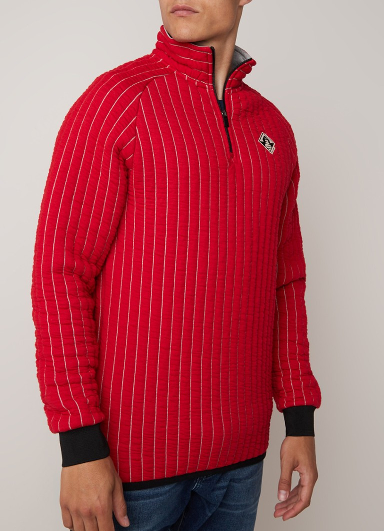 Scotch & Soda - Quilted sweater met halve rits  - Rood