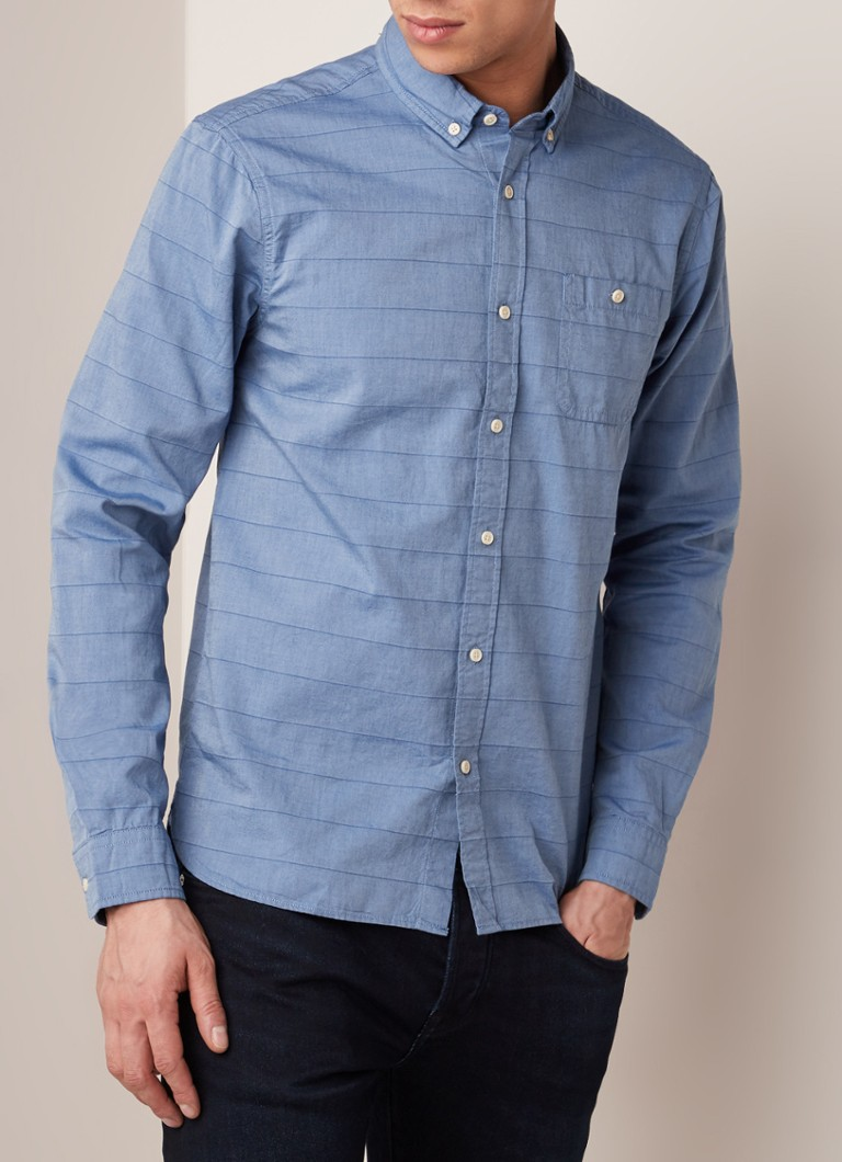 Scotch & Soda - Regular fit button down-overhemd met ingeweven streepdessin - Blauw