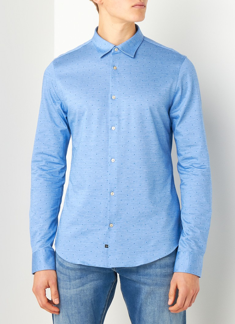 Scotch & Soda - Slim fit overhemd met stippenprint - Blauw