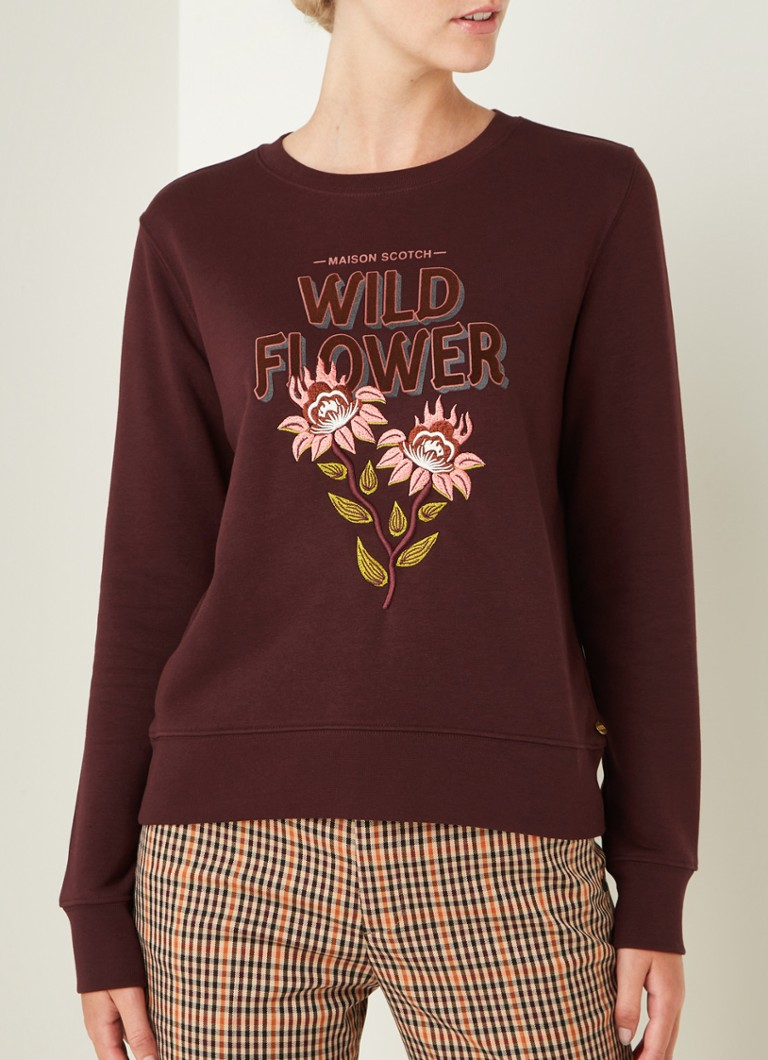 Scotch & Soda - Sweater met borduring - Bordeaux