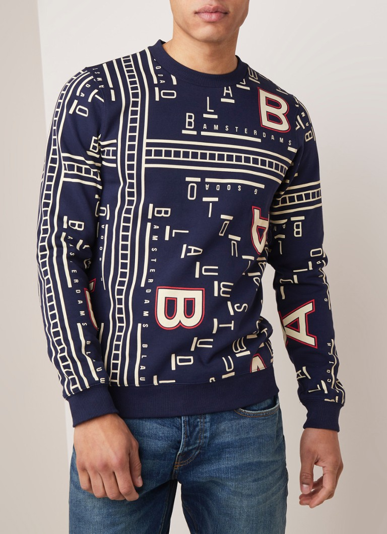 Scotch & Soda - Sweater met logodessin - Donkerblauw