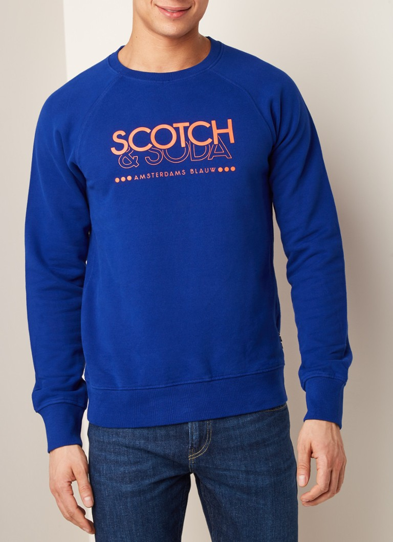 Scotch & Soda - Sweater met logoprint - Royalblauw
