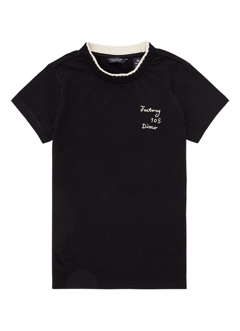 Scotch & Soda - T-shirt met borduring - Zwart