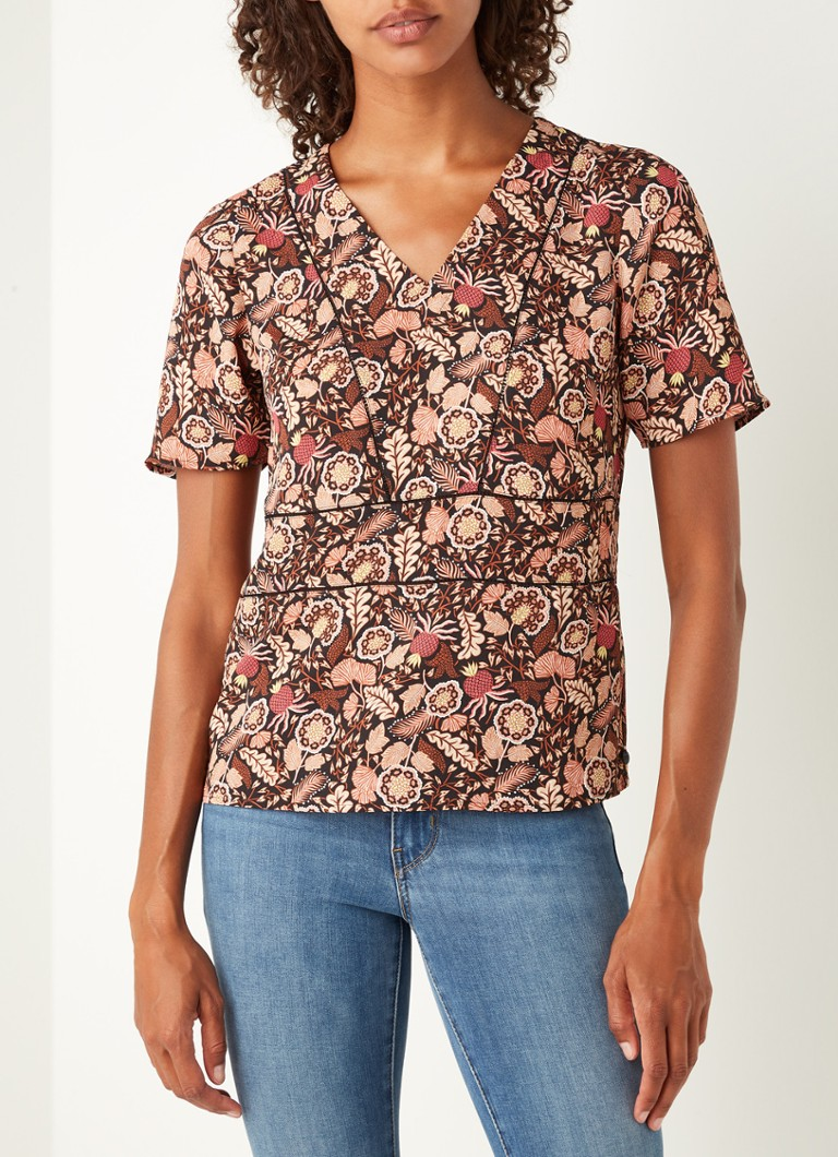 Scotch & Soda - Top à imprimé floral et col en V - Noir