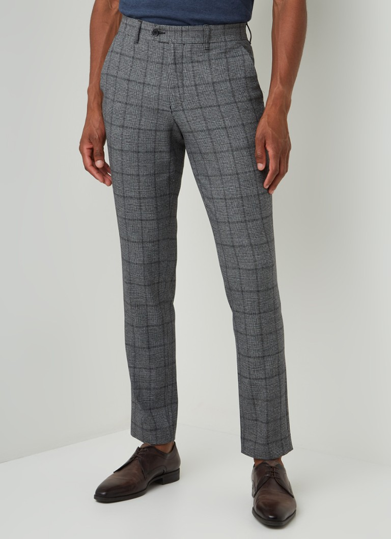 Selected Homme - Carlo slim fit pantalon met ruitdessin - Grijs