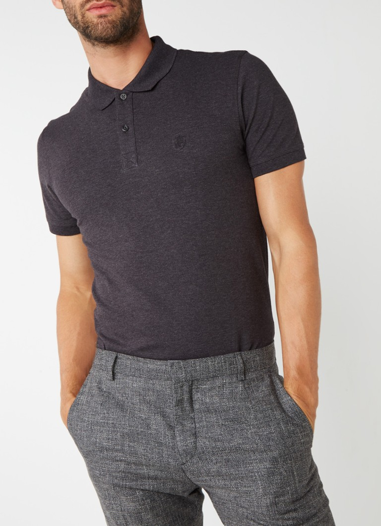 Selected Homme - Haro polo in katoenblend - Antraciet