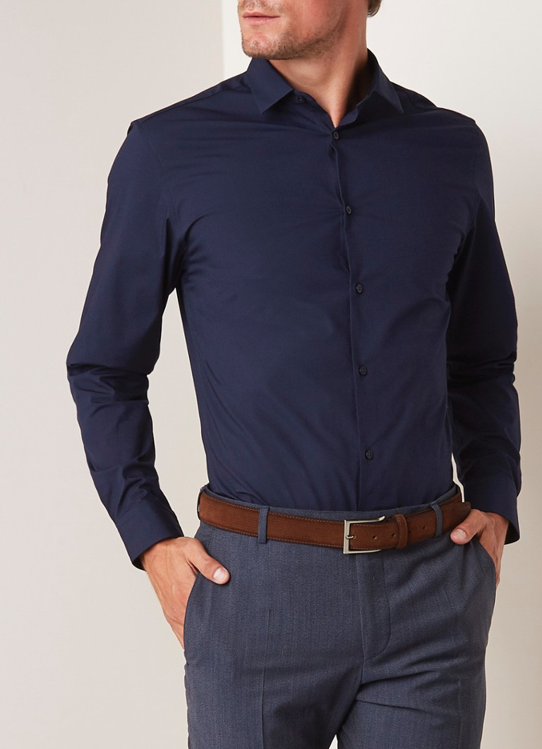 Selected Homme - Slim fit strijkvrij overhemd met stretch - Donkerblauw