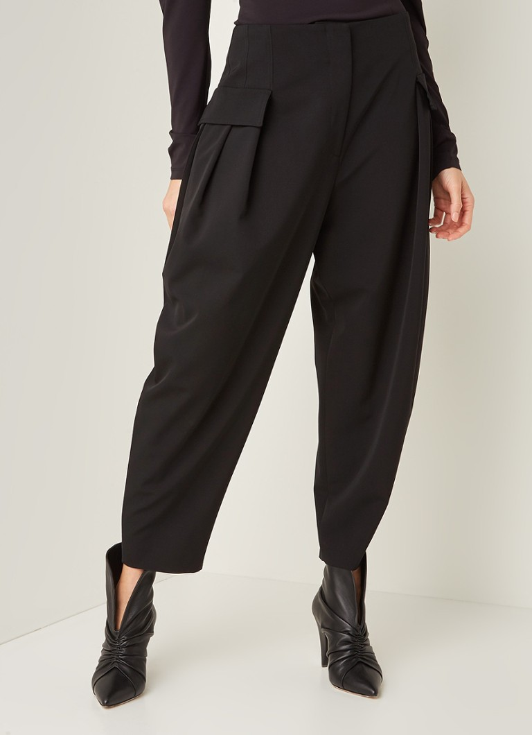 Stella McCartney - Banana high rise tapered fit pantalon met persplooi - Zwart
