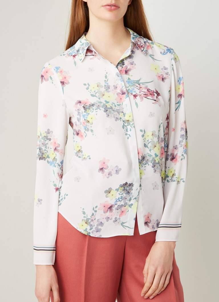 Ted Baker - Aadele regular fit bllouse met bloemenprint - Ivoor