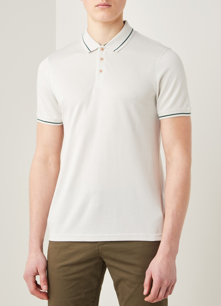Ted Baker - Gelpen regular fit polo met getipte boorden - Wit