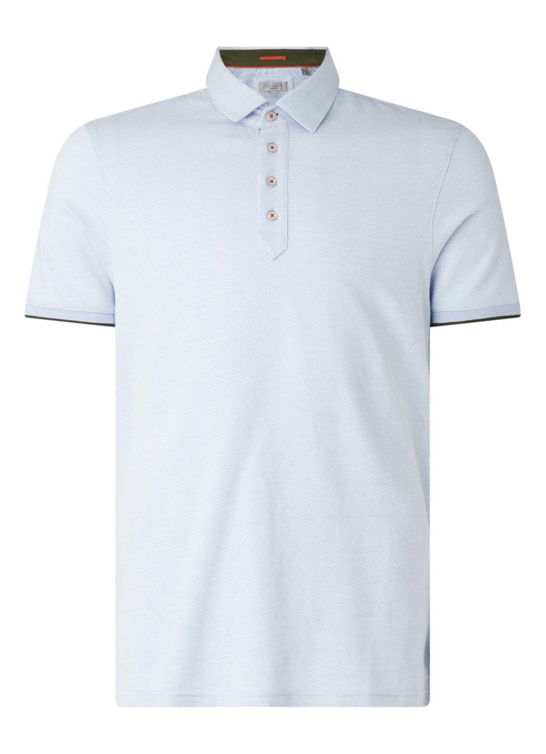 Ted Baker - Regular fit polo met visgraatdessin - Lichtblauw