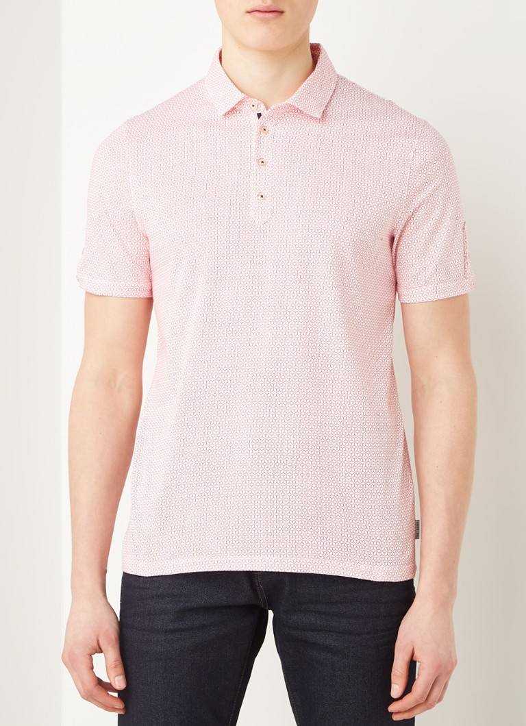 Ted Baker - Slim fit polo met print - Rood