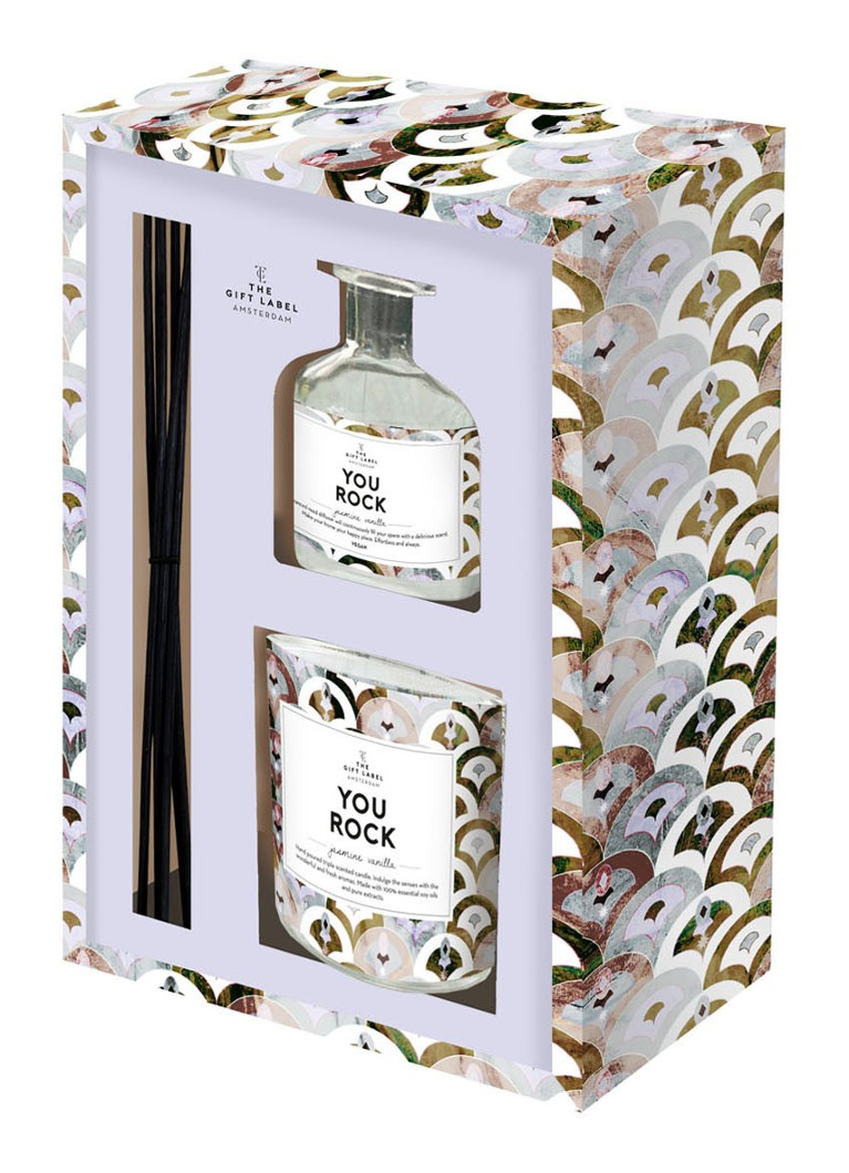 The Gift Label - You Rock X-mas geurstokjes en geurkaars in cadeauverpakking  - Lila