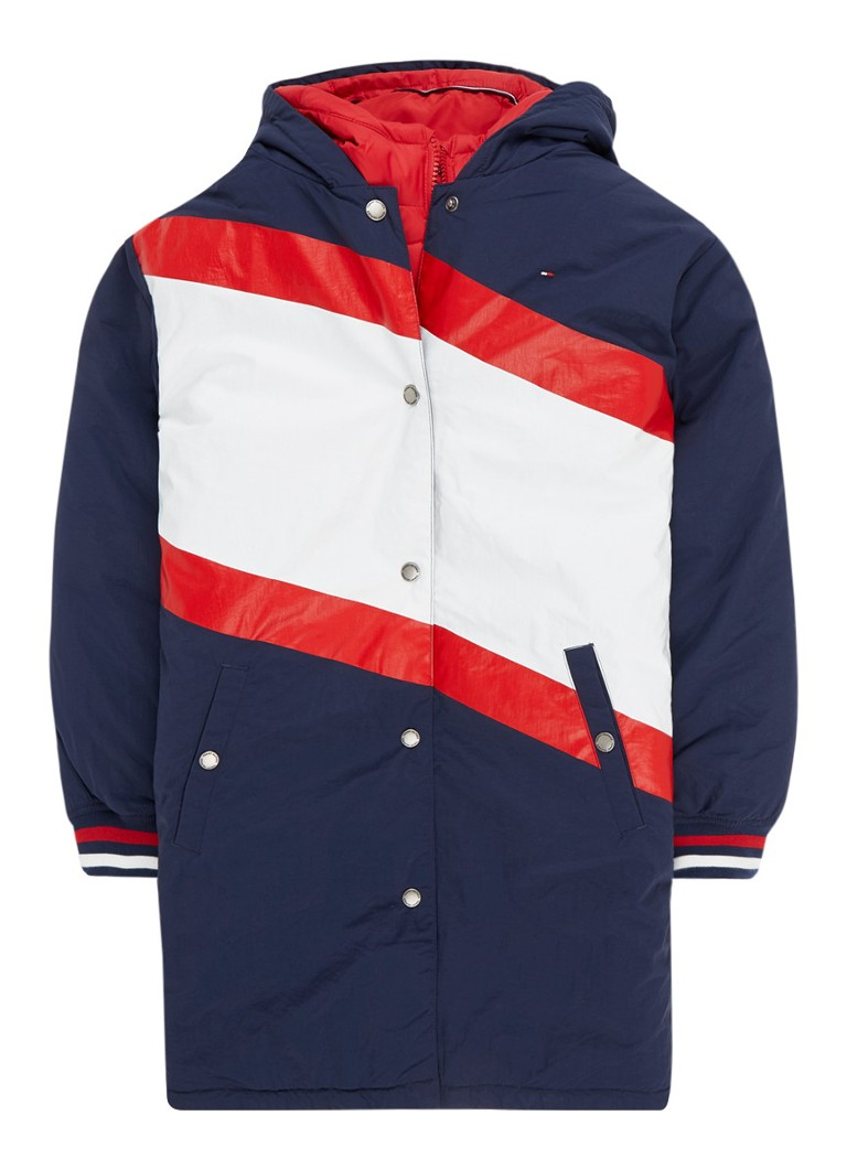 Tommy Hilfiger - 2-in-1 parka met capuchon en colour blocking - Donkerblauw