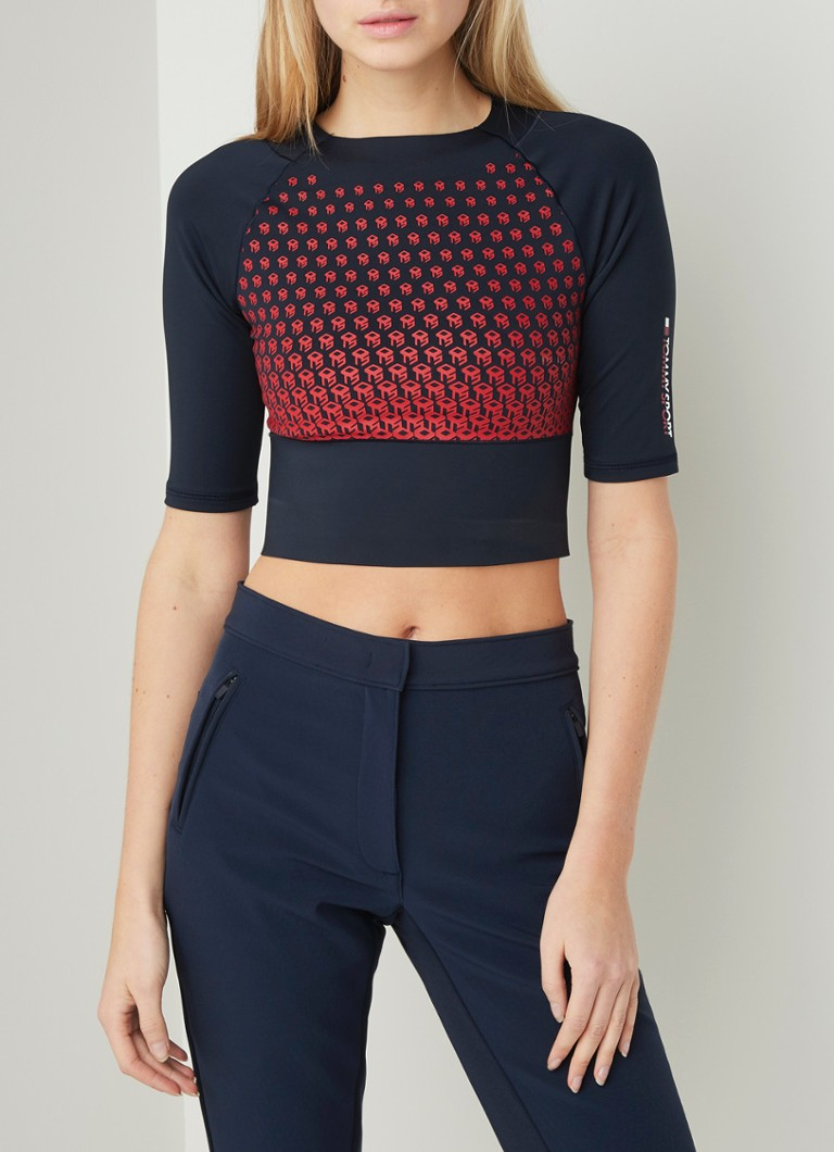 Tommy Hilfiger - Cropped trainings top met desssin - Donkerblauw