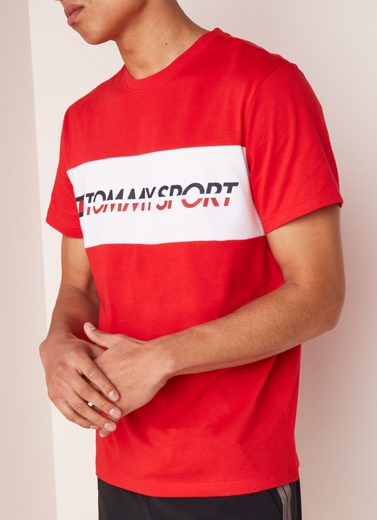 Tommy Hilfiger - Driver trainings T-shirt met logoprint - Rood