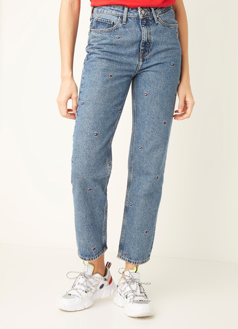 Tommy Hilfiger - High waist straight fit jeans met acid wassing - Indigo