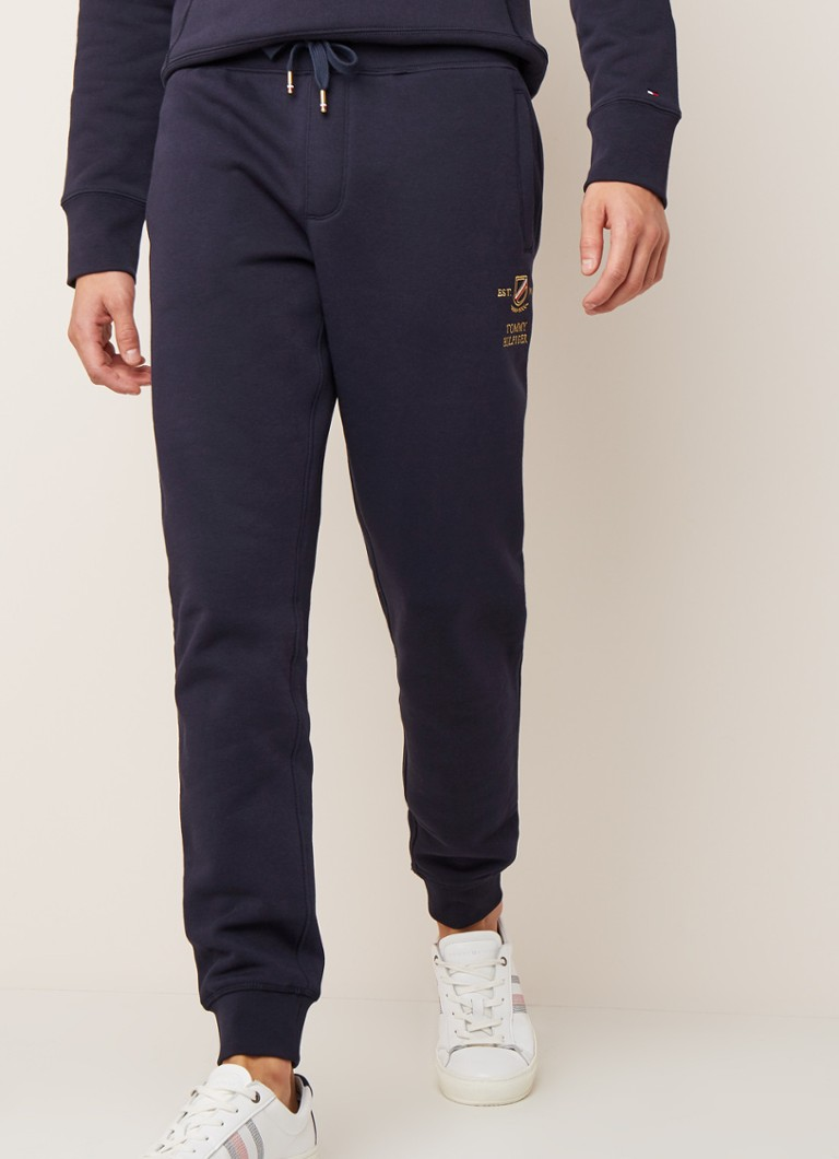 Tommy Hilfiger - Icon tapered fit joggingbroek met logoborduring - Donkerblauw