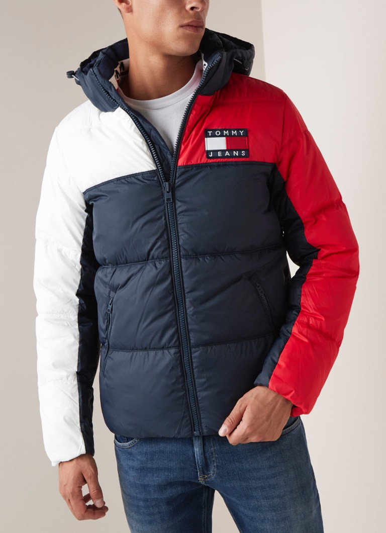 Tommy Hilfiger - Puffer jack met colour blocking - Donkerblauw