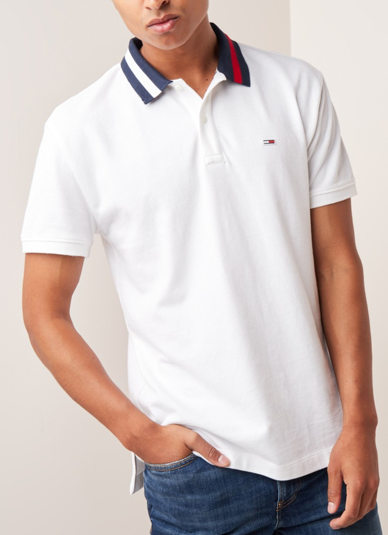 Tommy Hilfiger - Regular fit polo met contrasterende kraag - Wit