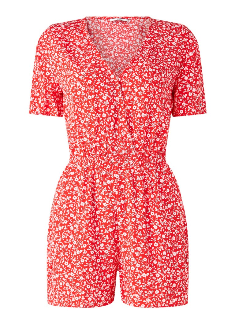 Tommy Hilfiger - Straight fit playsuit met bloemenprint - Rood