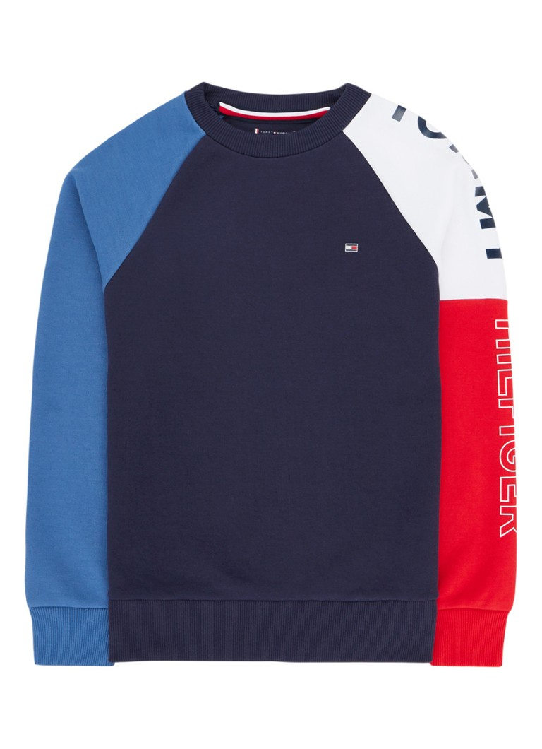 Tommy Hilfiger - Sweater met merkopdruk en colour blocking - Donkerblauw