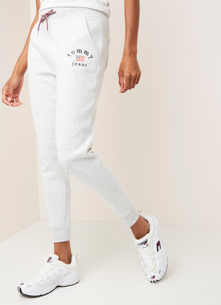 Tommy Hilfiger - Tapered fit joggingbroek met logoborduring - Grijsmele