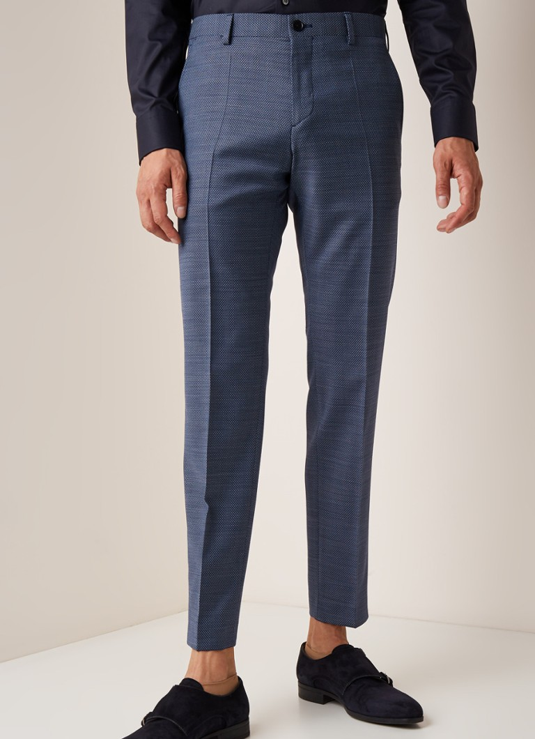 Tommy Hilfiger - The Flex slim fit pantalon in wolblend met micro dessin - Blauw