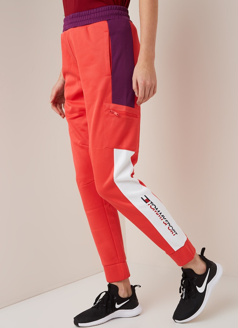 Tommy Hilfiger - Waterafstotende track pants met colourblocking - Koraalroze