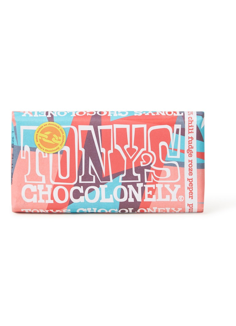 Tony's Chocolonely - Puur 51% Chili Fudge Roze Peper Limited Edition 2019 chocoladereep - null