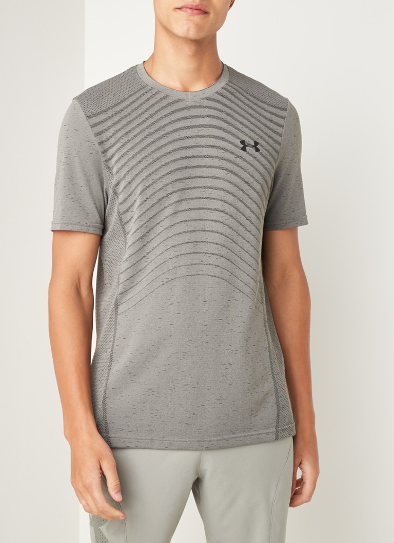 Under Armour - Seamless Wave slim fit T-shirt met mesh details - Grijs