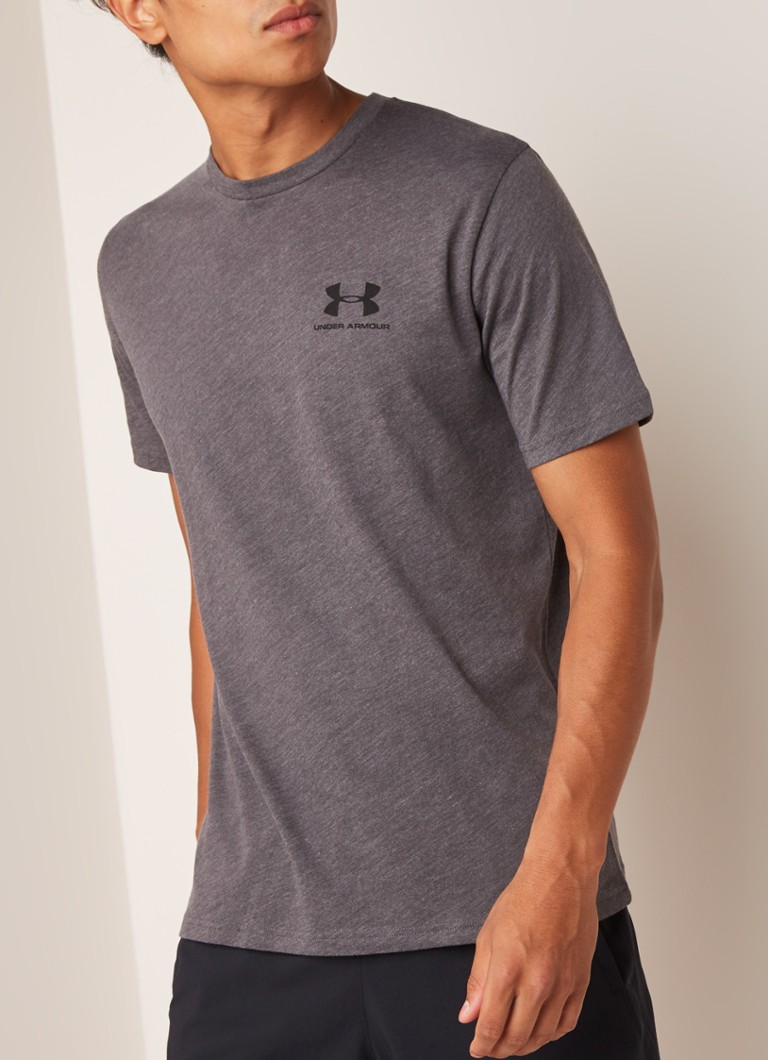 Under Armour - Sportstyling trainings T-shirt met logoprint - Donkergrijs