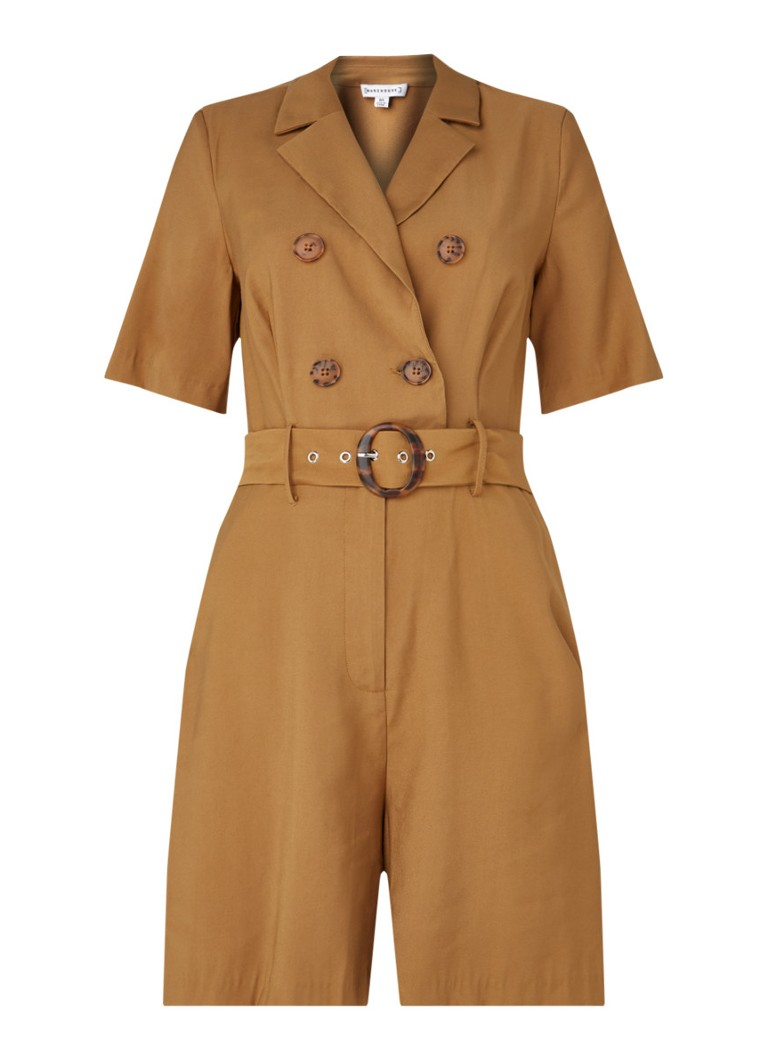 Warehouse - Buckle straight fit jumpsuit met ceintuur - Camel