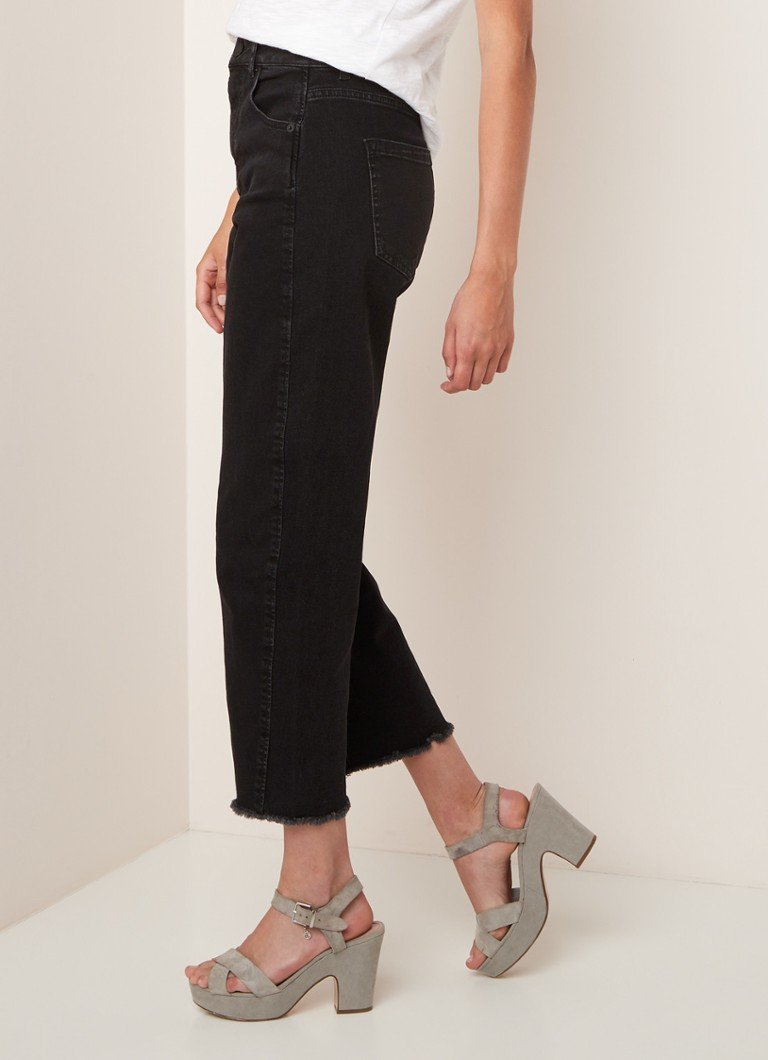 Whistles - High waist loose fit jeans met gerafelde zoom - Zwart