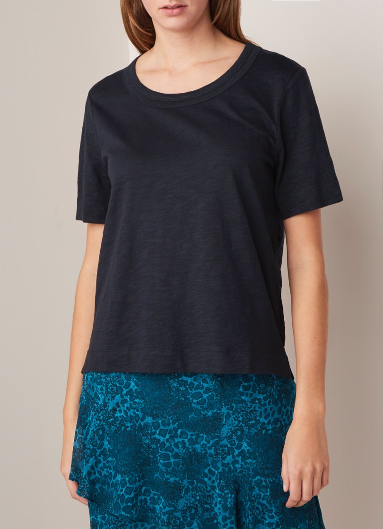 Whistles - Rosa T-shirt met dubbele boord - Donkerblauw