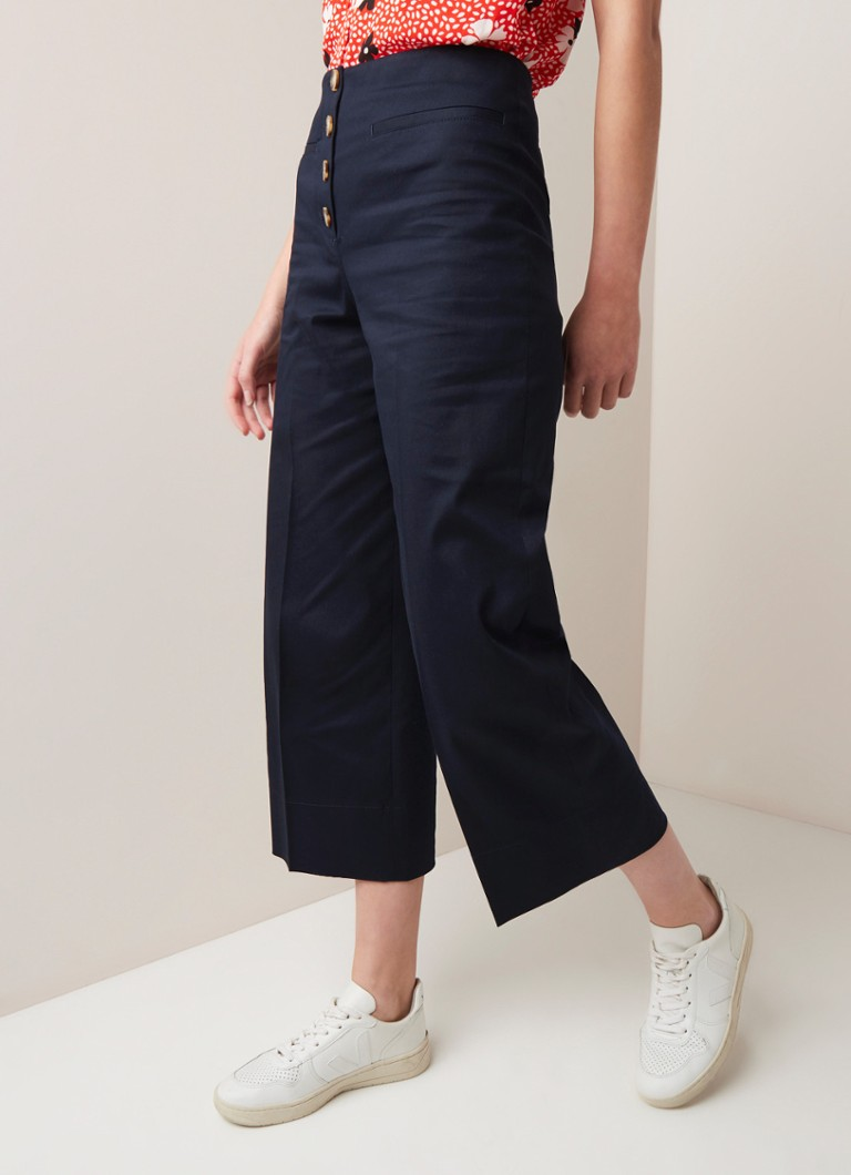 Whistles - Whistles Heidi high waist cropped wife fit pantalon - Donkerblauw