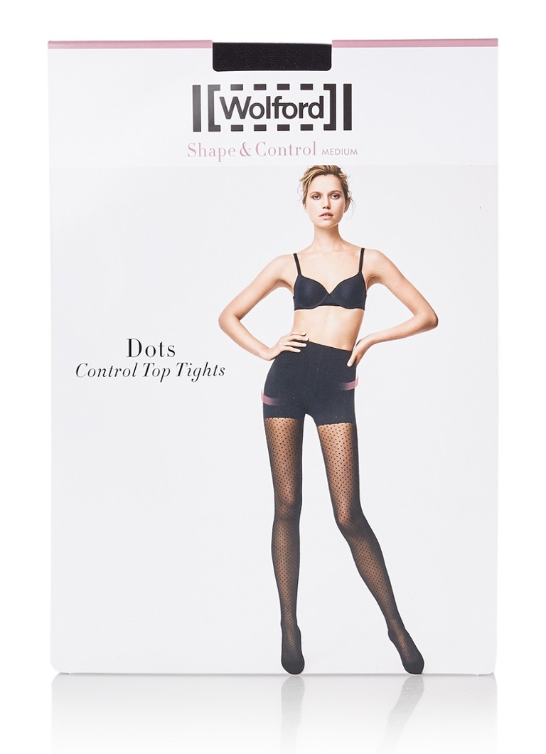 Wolford - Dots Control Top panty in 20 denier - Diepzwart