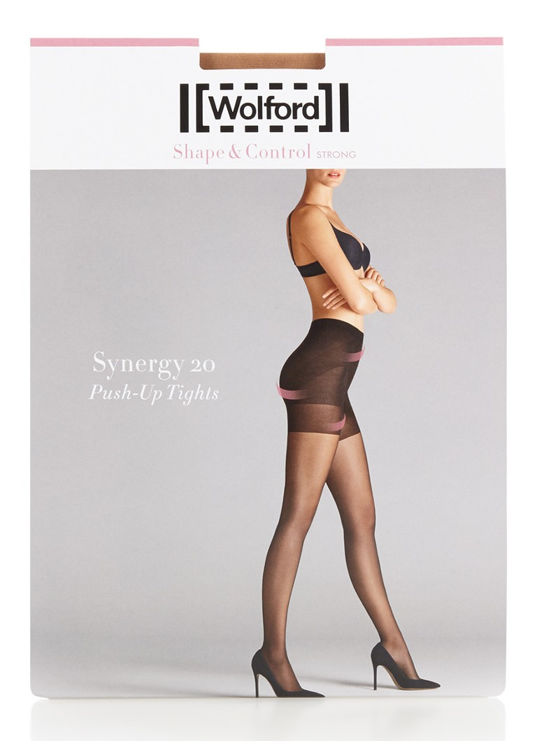 Wolford - Synergy push-up panty in 20 denier - Donkerbeige