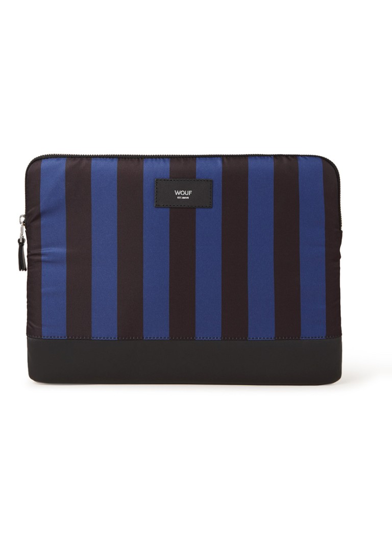 Wouf - Azzurro laptophoes met streepdessin 13 inch - Zwart