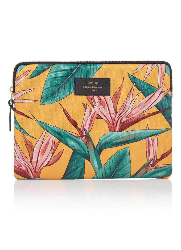 Wouf - Birds Of Paradise tablethoes met dessin 10.5 inch - Donkergeel
