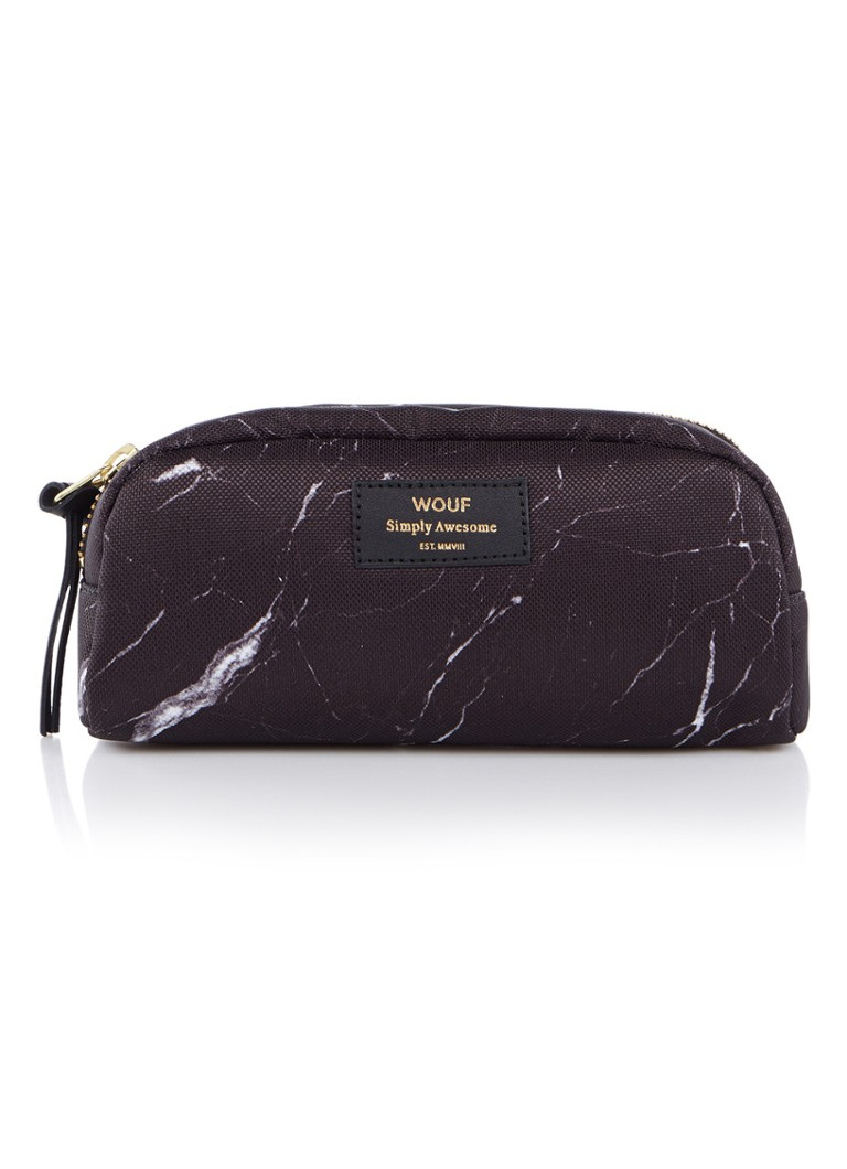 Wouf - Marble S make-up tas met dessin - Zwart